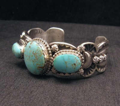 Image 2 of Gilbert Tom ~ Navajo ~ Old Pawn Style Royston Turquoise Silver Bracelet