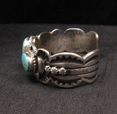 Image 3 of Gilbert Tom ~ Navajo ~ Old Pawn Style Royston Turquoise Silver Bracelet