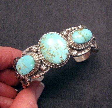 Image 7 of Gilbert Tom ~ Navajo ~ Old Pawn Style Royston Turquoise Silver Bracelet