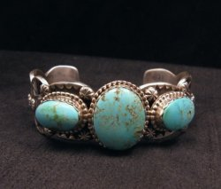 Gilbert Tom ~ Navajo ~ Old Pawn Style Royston Turquoise Silver Bracelet