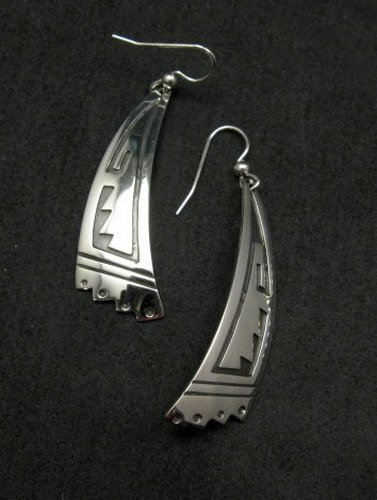 Image 2 of Long Native American Navajo Sterling Silver Earrings, Everett & Mary Teller