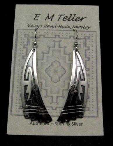 Image 1 of Long Native American Navajo Sterling Silver Earrings, Everett & Mary Teller
