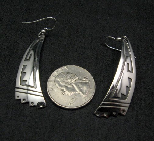 Image 3 of Long Native American Navajo Sterling Silver Earrings, Everett & Mary Teller