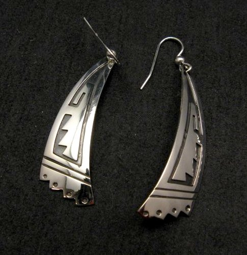 Image 0 of Long Native American Navajo Sterling Silver Earrings, Everett & Mary Teller