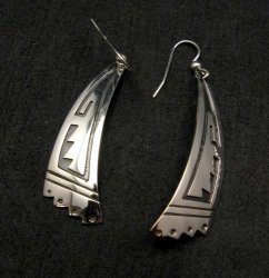 Long Native American Navajo Sterling Silver Earrings, Everett & Mary Teller