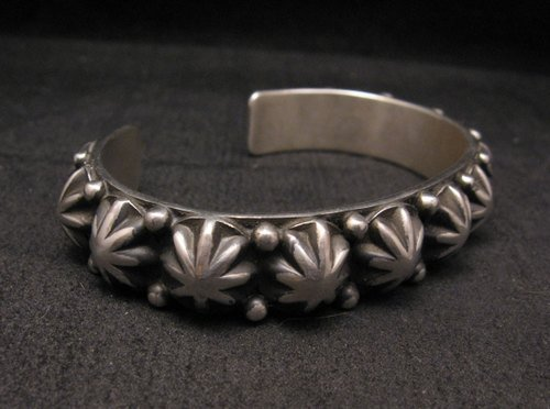 Image 1 of Navajo Old Pawn Style Starred Button Studded Silver Bracelet, Happy Piasso