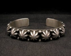 Navajo Old Pawn Style Starred Button Studded Silver Bracelet, Happy Piasso