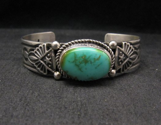 Image 0 of Navajo Native American Turquoise Silver Bracelet by Albert Jake