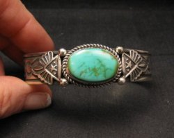 Navajo Native American Turquoise Silver Bracelet by Albert Jake