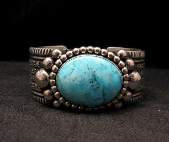 Image 0 of Big Navajo Native American Turquoise Silver Bracelet, Guy Hoskie