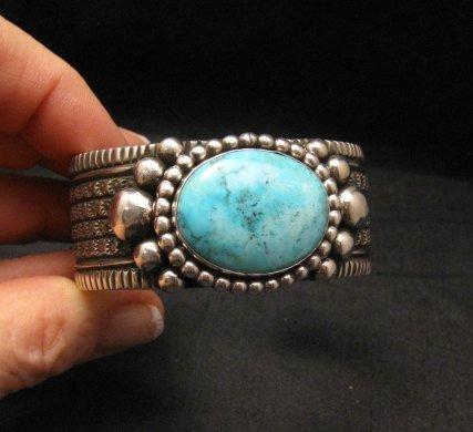 Image 1 of Big Navajo Native American Turquoise Silver Bracelet, Guy Hoskie