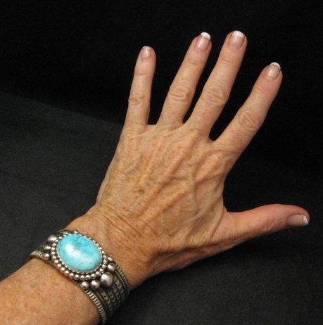 Image 2 of Big Navajo Native American Turquoise Silver Bracelet, Guy Hoskie