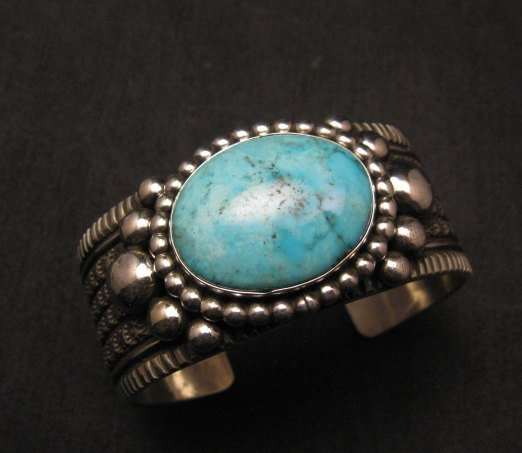 Image 3 of Big Navajo Native American Turquoise Silver Bracelet, Guy Hoskie