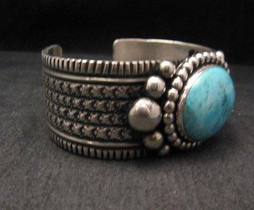 Image 4 of Big Navajo Native American Turquoise Silver Bracelet, Guy Hoskie
