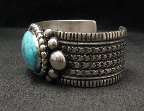 Image 5 of Big Navajo Native American Turquoise Silver Bracelet, Guy Hoskie