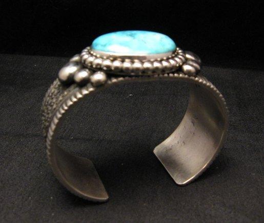 Image 6 of Big Navajo Native American Turquoise Silver Bracelet, Guy Hoskie