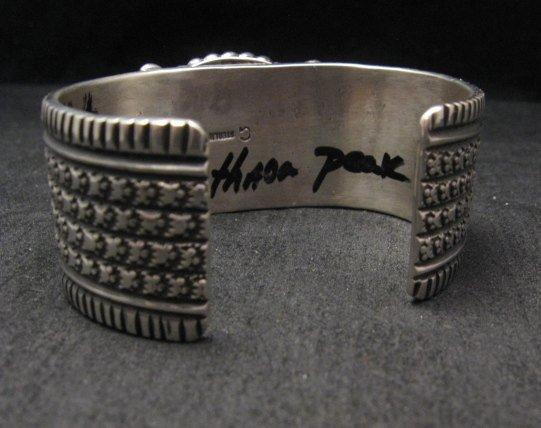 Image 7 of Big Navajo Native American Turquoise Silver Bracelet, Guy Hoskie
