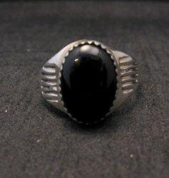 Native American Black Onyx Sterling Silver Ring Sz9