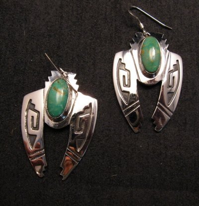 Image 0 of Navajo Indian Sterling Silver Turquoise Naja Earrings, Everett & Mary Teller
