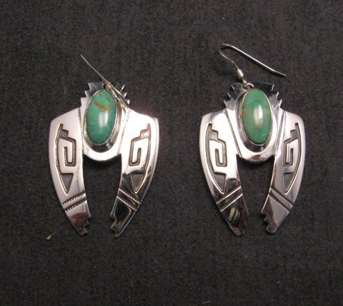 Image 1 of Navajo Indian Sterling Silver Turquoise Naja Earrings, Everett & Mary Teller