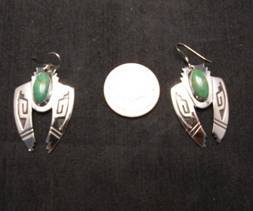 Image 2 of Navajo Indian Sterling Silver Turquoise Naja Earrings, Everett & Mary Teller