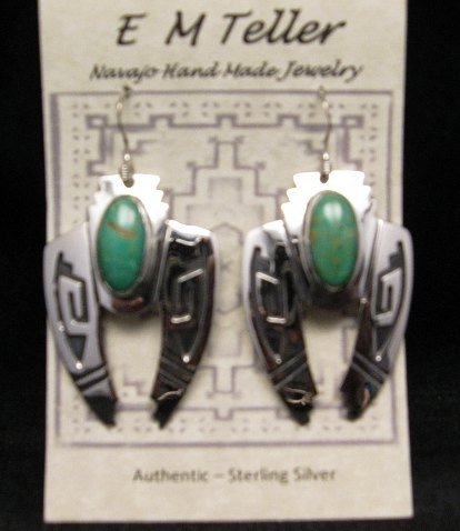 Image 3 of Navajo Indian Sterling Silver Turquoise Naja Earrings, Everett & Mary Teller