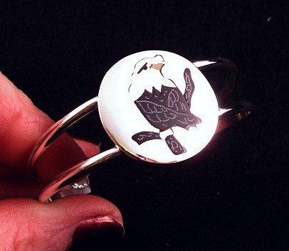 Image 0 of Sanford Edaakie Zuni American Bald Eagle Silver Bracelet