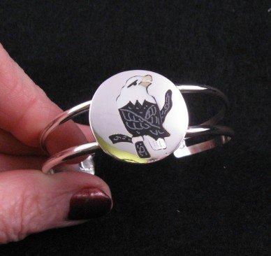 Image 1 of Sanford Edaakie Zuni American Bald Eagle Silver Bracelet