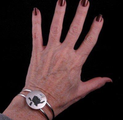 Image 2 of Sanford Edaakie Zuni American Bald Eagle Silver Bracelet