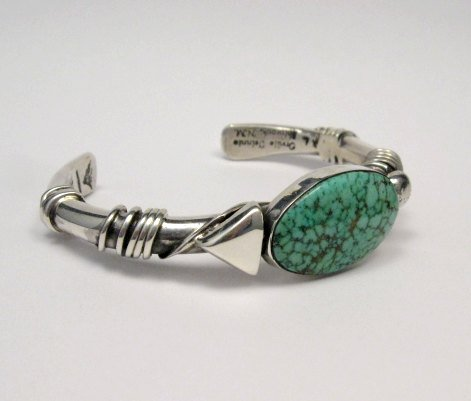 Image 2 of Orville Tsinnie Navajo Kingman Web Turquoise Bracelet, Extra-Large