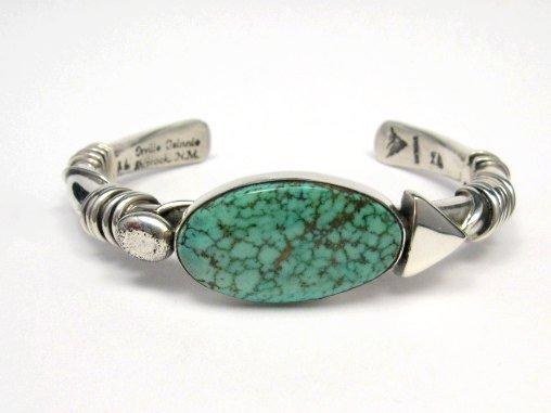 Image 0 of Orville Tsinnie Navajo Kingman Web Turquoise Bracelet, Extra-Large
