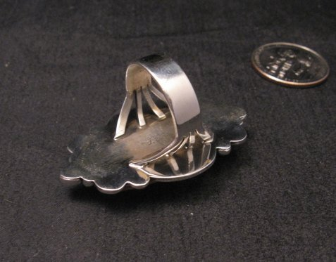 Image 5 of Navajo Handmade Silver Spiny Oyster Ring Sz7-1/2, Gilbert Tom