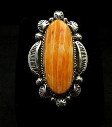 Navajo Handmade Silver Spiny Oyster Ring Sz7-1/2, Gilbert Tom