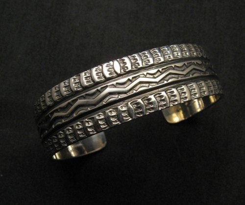 Image 0 of Sunshine Reeves Navajo Native American Stamped Sterling Silver Cuff Bracelet