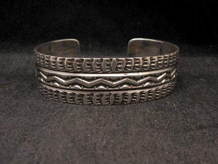 Image 1 of Sunshine Reeves Navajo Native American Stamped Sterling Silver Cuff Bracelet