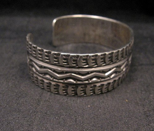 Image 3 of Sunshine Reeves Navajo Native American Stamped Sterling Silver Cuff Bracelet