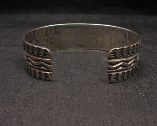 Image 4 of Sunshine Reeves Navajo Native American Stamped Sterling Silver Cuff Bracelet