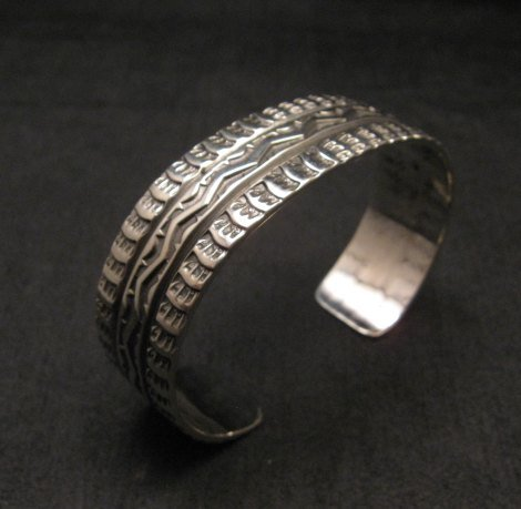 Image 5 of Sunshine Reeves Navajo Native American Stamped Sterling Silver Cuff Bracelet