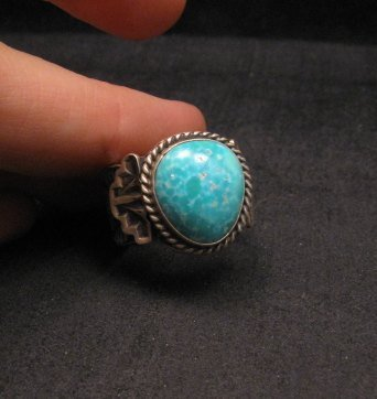 Image 3 of Navajo Native American Turquoise Ring Sz10, Gilbert Tom