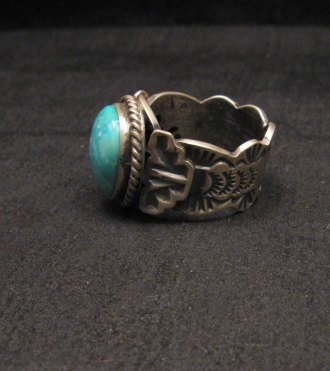 Image 1 of Navajo Native American Turquoise Ring Sz10, Gilbert Tom