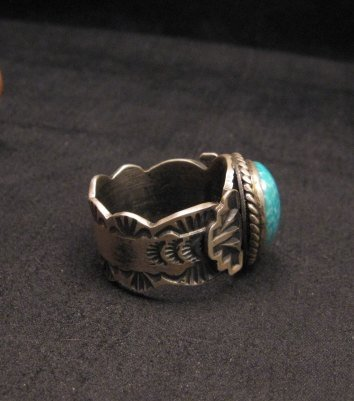 Image 2 of Navajo Native American Turquoise Ring Sz10, Gilbert Tom