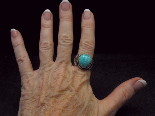 Image 4 of Navajo Native American Turquoise Ring Sz10, Gilbert Tom
