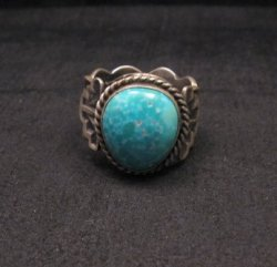 Navajo Native American Turquoise Ring Sz10, Gilbert Tom