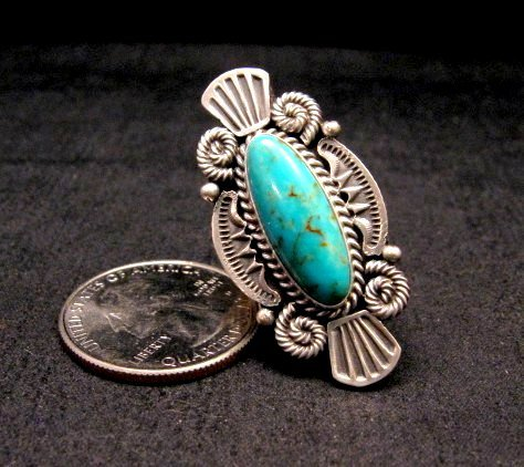 Image 0 of Michael Calliditto Kingman Turquoise Ring Sterling Silver Navajo sz5-1/2