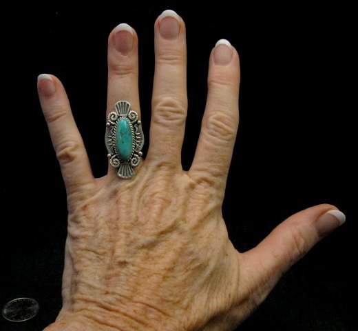 Image 3 of Michael Calliditto Kingman Turquoise Ring Sterling Silver Navajo sz5-1/2