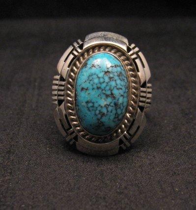 Image 0 of Harley Jake Navajo Kingman Web Turquoise Silver Ring Sz8