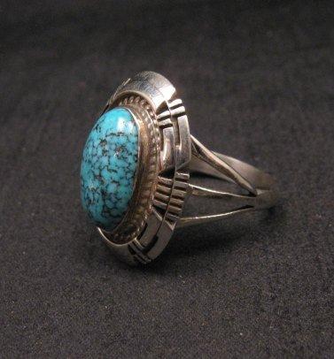 Image 1 of Harley Jake Navajo Kingman Web Turquoise Silver Ring Sz8