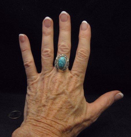 Image 2 of Harley Jake Navajo Kingman Web Turquoise Silver Ring Sz8