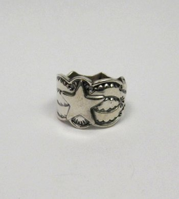 Image 1 of Sunshine Reeves ~ Navajo ~ Stamped Sterling Silver Star Ring sz9