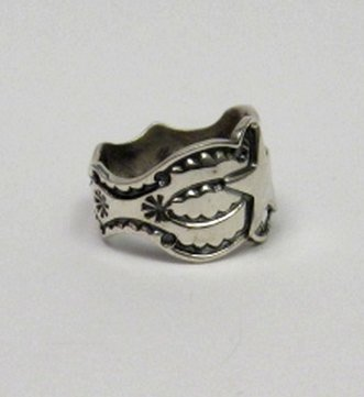 Image 2 of Sunshine Reeves ~ Navajo ~ Stamped Sterling Silver Star Ring sz9